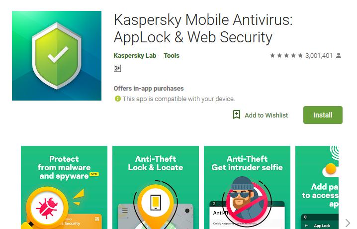 Karspersky Mobile Antivirus Applock