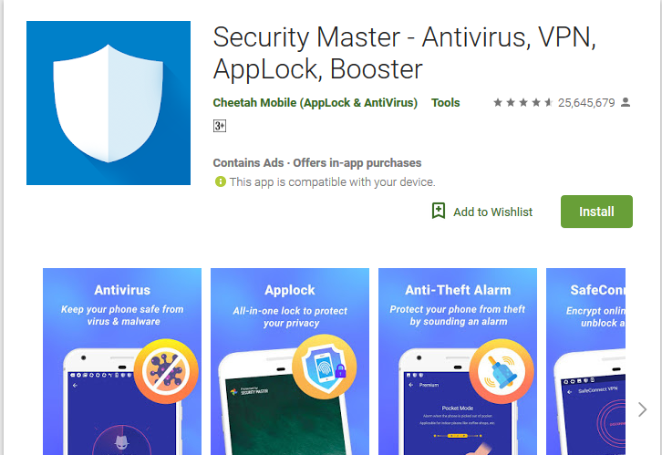 Security Master Best antivirus app for android